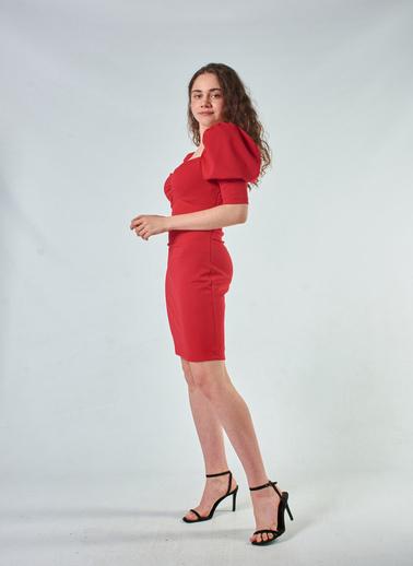 Coral  Puff Sleeve Elbise Wıth Neck Detaıls Kırmızı Kırmızı